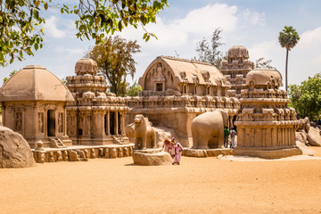 Keuken foto achterwand Monument Ancient Hindu monolithic, Pancha Rathas - Five Rathas, Mahabalipuram, Tamil Nadu, India