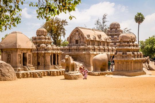 Ancient Hindu monolithic,  Pancha Rathas - Five Rathas, Mahabalipuram, Tamil Nadu, India