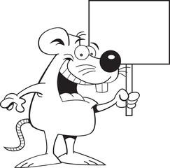 Black and white illustration of a mouse holding a sign.