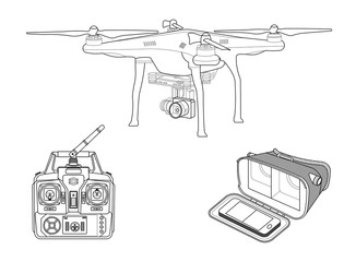 Quadcopter with VR gear and remote controller