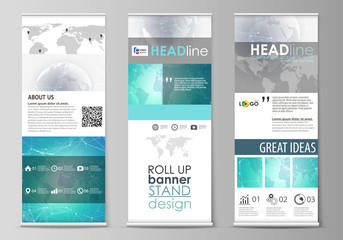 The minimalistic vector illustration of editable layout of roll up banner stands, vertical flyers, flags design business templates. Chemistry pattern. Molecule structure. Medical, science background.