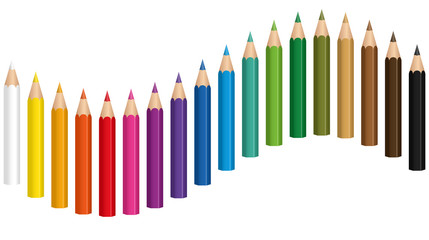 Crayons - colored pencil wave - seamless extensible in both directions - isolated vector illustration on white background.