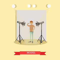 Vector flat illustration of male model in casual clothes