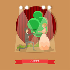Vector flat illustration of opera singers performing on stage