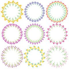 spring flowers circle frames