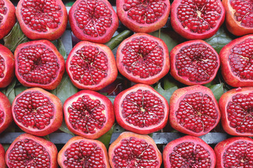 Background pattern of cuted pomegranates