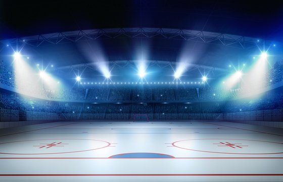 Ice hockey stadium 3d rendering