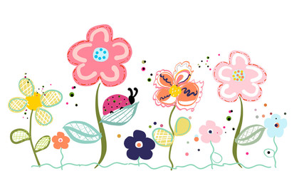 Abstract decorative spring flowers