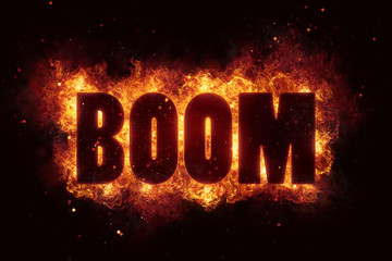 boom explosion text fire flames hot