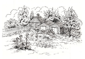 Sketch of rural landscape with old cottage, barn, garage and garden. Ink sketch