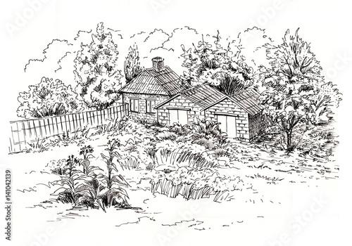 Sketch of rural landscape with old cottage barn garage for Disegni di addizione garage