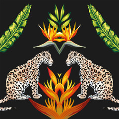 Mirror tigress tropical flowers and leaves black background