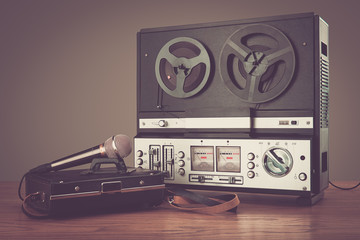 Bobbin tape recorder retro micrphone. HD photo.