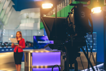 TV presenter preparing to live streaming video