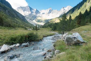 Spoed Fotobehang Pistache Gebirgsfluß in den Alpen mit Gletscher im Hintergrund