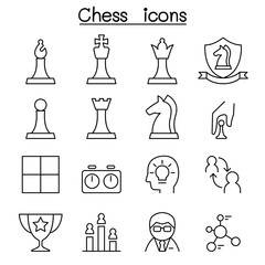 Chess icon set in thin line style