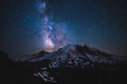 Stars, night sky and snow capped mountains