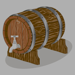 Vector illustration logo for whole wood barrel filled with wine,background.Barrel drawing consisting of tag label,natural container made of oak.Storage of organic honey,liquid oil in wooden barrels.