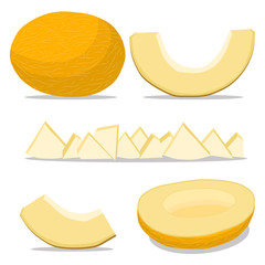 Vector illustration logo for whole ripe fruit yellow melon,cut half sliced cantaloupe,background.Melon drawing pattern consisting of tag label,natural sweet food.Eat fresh raw organic fruits melons.
