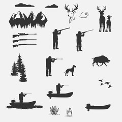 man shoots from a rifle hunting.  rifle separately. flying ducks and runs wild boar.There are deer. Mountains and forest.   Isolate on white background. easy to cut to your Projects summary.