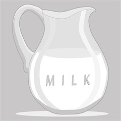 Vector illustration logo for set white milk in bottles,background.Milk pattern consisting of glass jug filled,carton lactic,dairy package,natural product.Drink fresh raw organic liquid milks to health