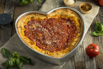 Homemade Heart Shaped Chicago Deep Dish Pizza