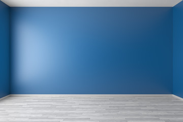 Empty blue room with white parquet floor