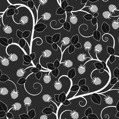Seamless lace pattern with raspberry on black background