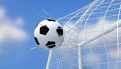 Football black and white color shooting Goal with blurred blue sky background.3D Rendering