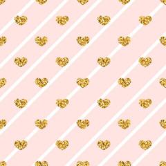Gold heart seamless pattern. Golden glitter love confetti hearts on white pink line background. Diagonal stripe. Design Valentine day, wedding wallpaper. Modern holiday texture Vector illustration