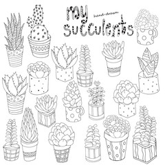 Hand drawn set of succulents, cactuses and pots.