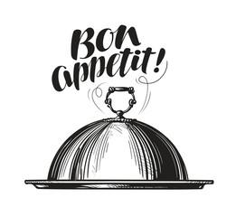 Restaurant cloche for hot dishes. Tray sketch. Lettering for menu design diner, eatery or cafe. Vector illustration