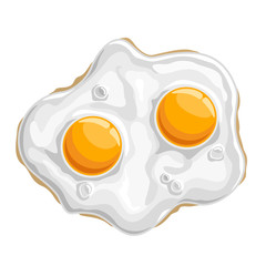 Vector illustration Fried chicken Egg: isolated cooked white protein with 2 yellow yolk-sunny side, logo cartoon cooking fried egg - top view, abstract clip art of traditional crispy fry breakfast up.