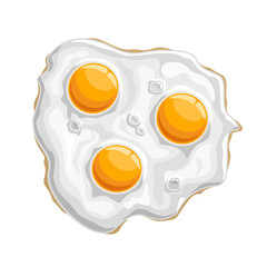 Vector illustration Fried chicken Egg: isolated cooked white protein with 3 yellow yolk-sunny side, logo cartoon cooking fried egg - top view, abstract clip art of traditional crispy fry breakfast up.