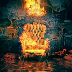 burning armchair in destroyed room . 3d illustration concept