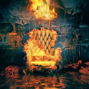 burning armchair in destroyed room . 3d illustration concept
