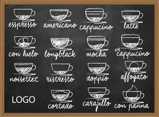 Coffee menu Set of coffee menu hand drawn
