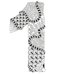 Number one Zentangle. Vector decorative number
