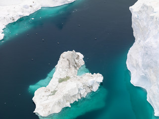 Aerial view of the glaciers on arctic ocean