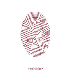Hipster fingerprint. Hair and beard. Simple design for logo, silhouette. Vector illustration.