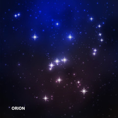Orion constellation in the night sky