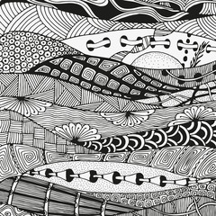 Black and white artistically, tribal, Navajo vector pattern.