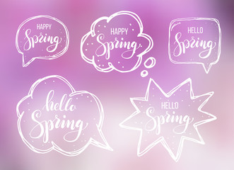 Hello spring. Lettering on speech bubbles. Vector illustration