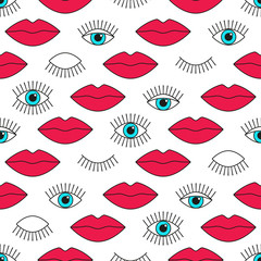 Seamless pattern in 80s style with eyes and lips.