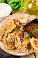 Healthy chicken nuggets with sesame seeds