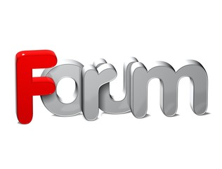 3D Word Forum over white background.