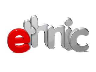 3D Word Ethnic over white background.