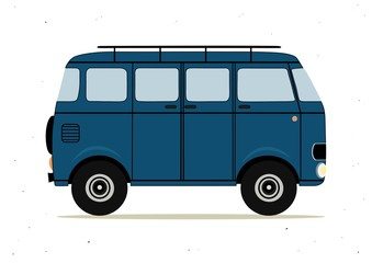 Cartoon blue retro bus