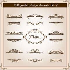 Wall Mural - Ornamental design antique elements for text. Vector graphic vintage floral calligraphic border lines