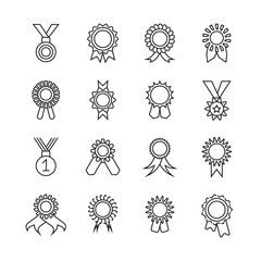 Wall Mural - Rosette banner thin line icons. Vector award ribbons outline signs isolated on white background